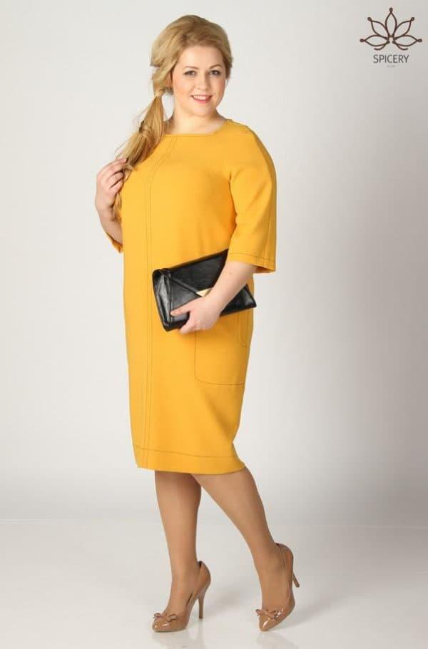 желтое платье в офис для полных