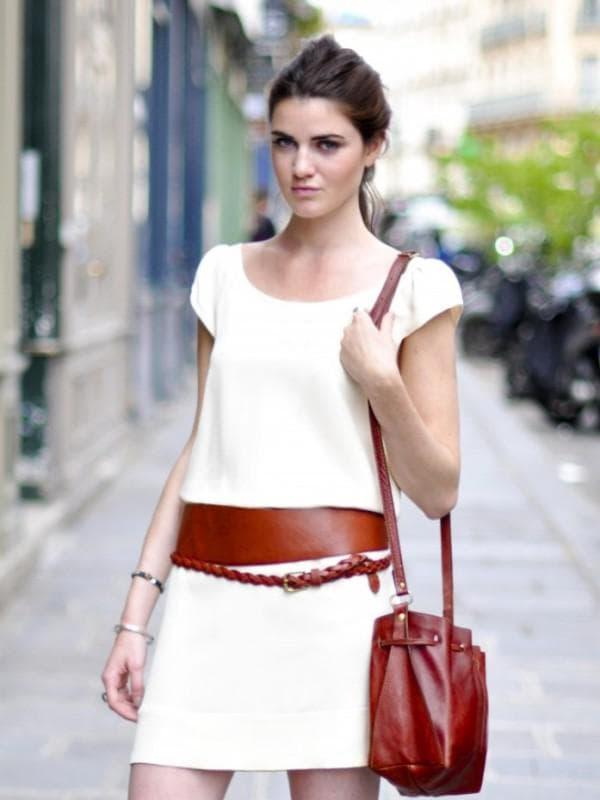 кожаный пояс на платье
