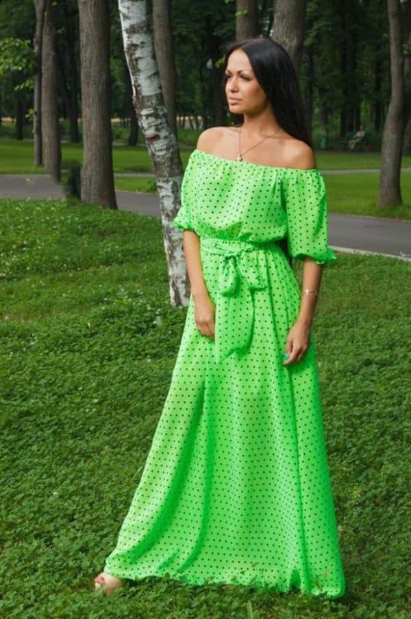 салатовое платье в пол