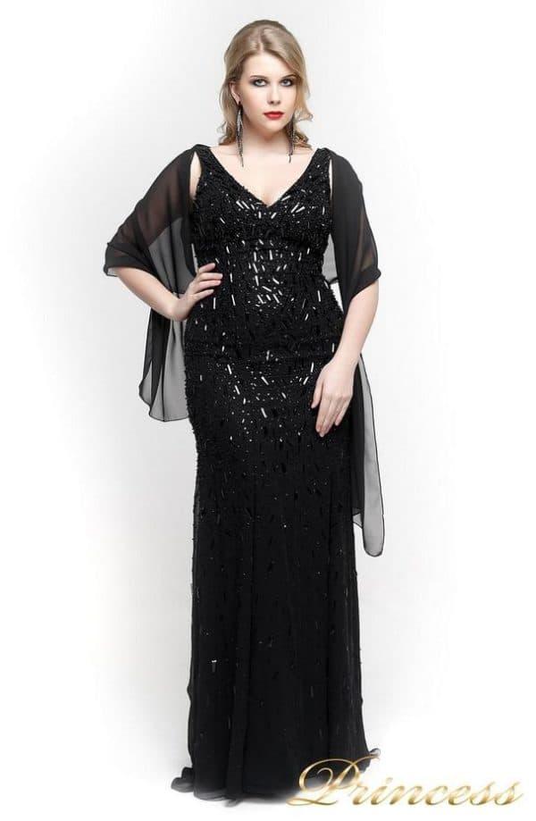черное платье в пол для полных на Новый год