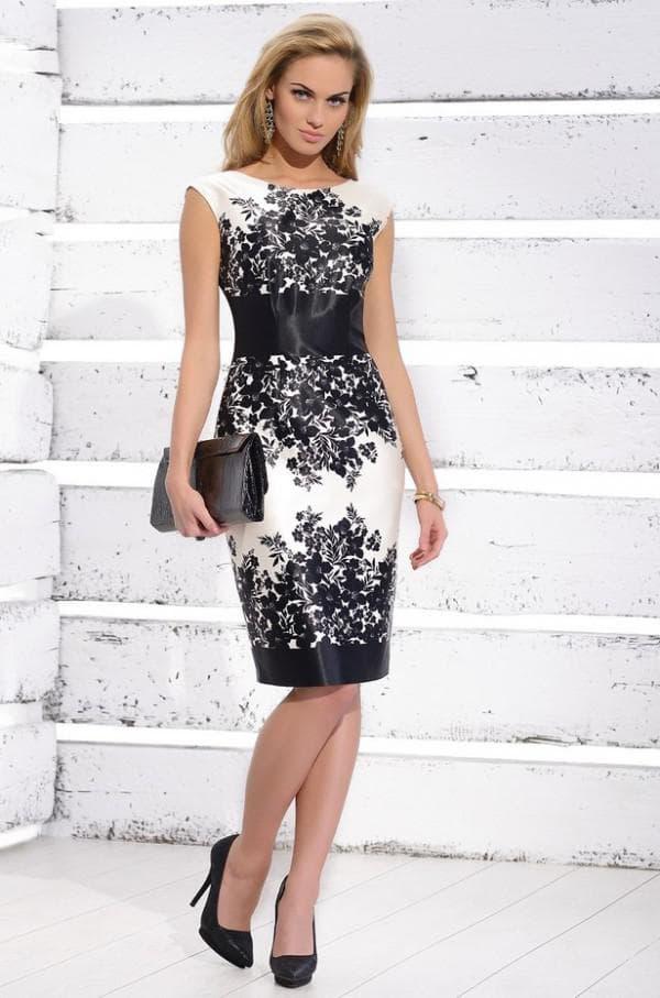 черно-белое платье для гостьи на свадьбу