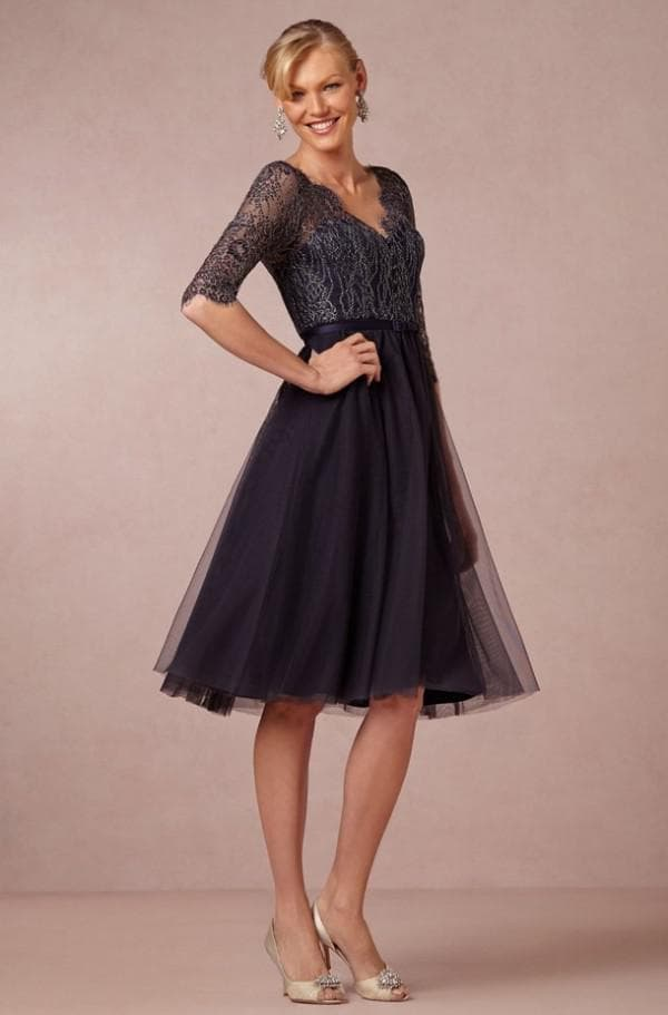 вечернее платье с пышной юбкой миди