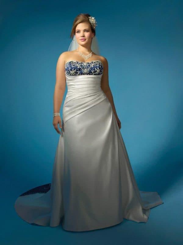 разноцветное свадебное платье для полных