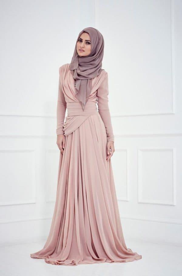 Лиловое свадебное платье для невесты мусульманки