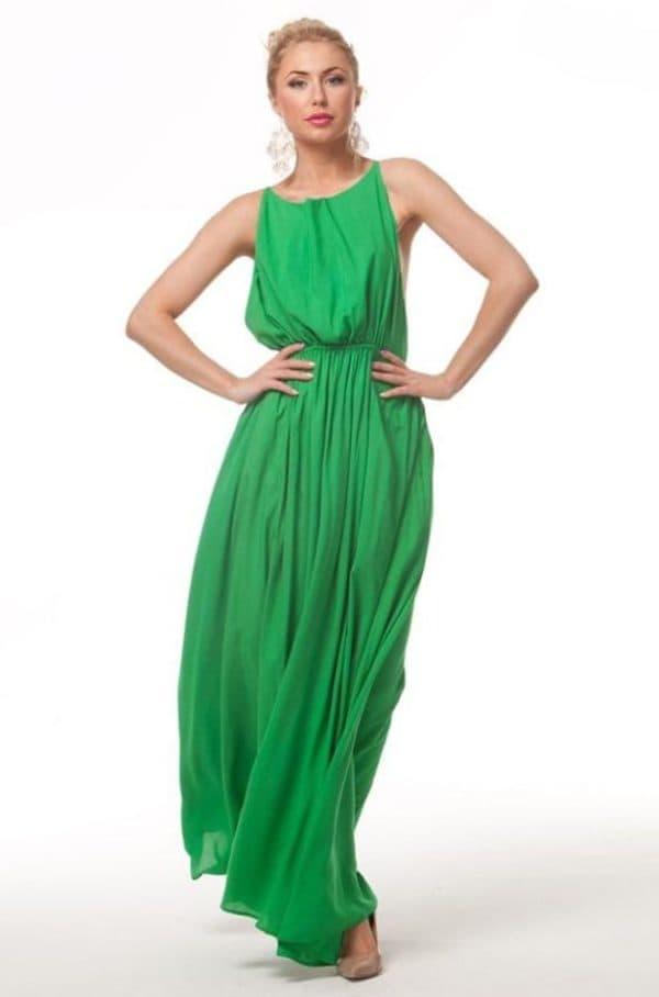 Зеленое платье в пол на каждый день