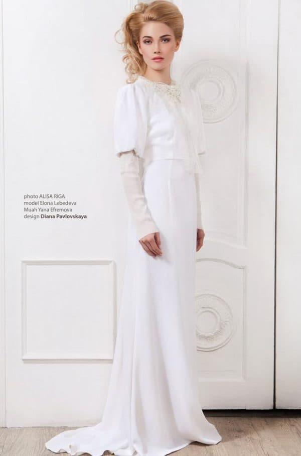 Скромное свадебное платье для церемонии в церкви