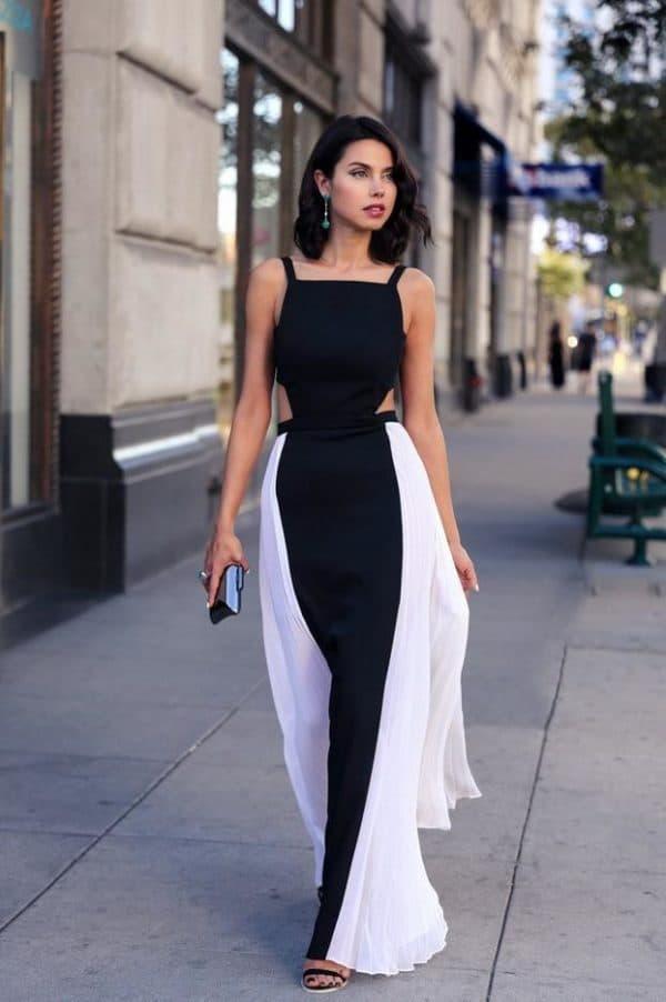 Летнее длинное платье с открытой спиной
