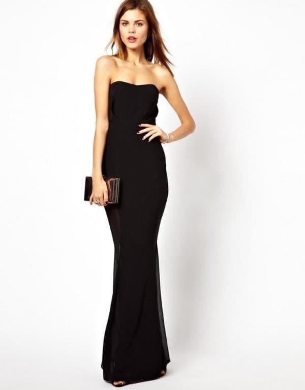 Черное облегающее платье в пол