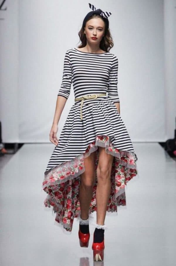 Модное платье тельняшка