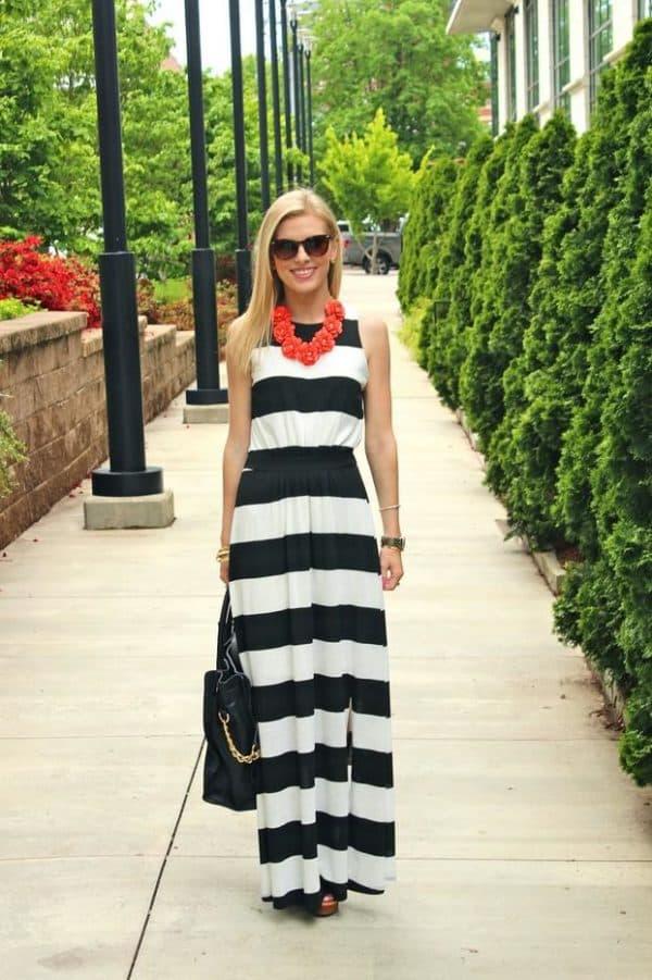 С чем носить длинное платье тельняшку