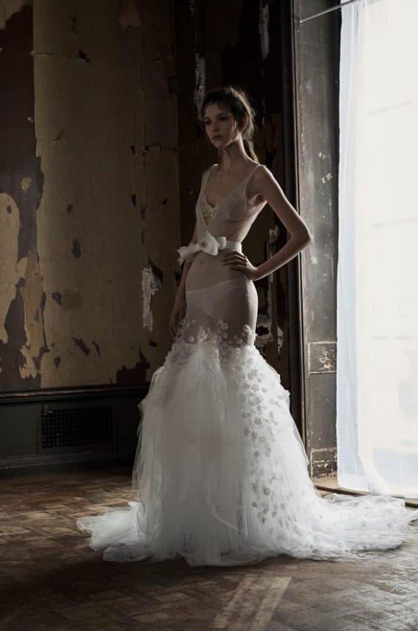 Прозрачное свадебное платье Вера Вонг