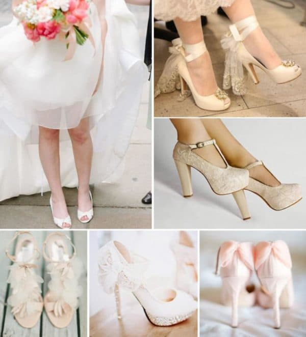 Подходящие к свадебному платью цвета айвори туфли