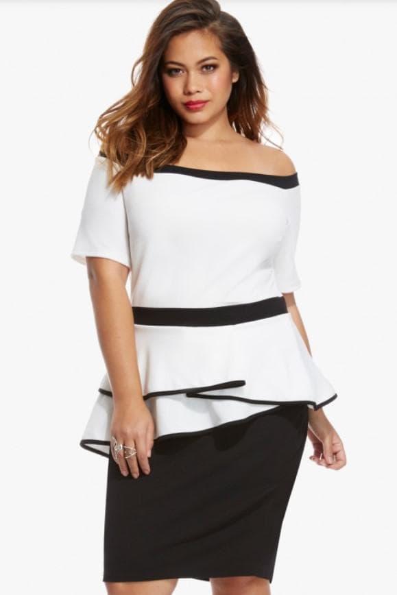 Черно-белое платье с баской