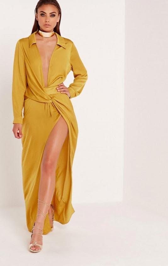 Вечернее платье большого размера горчичного цвета