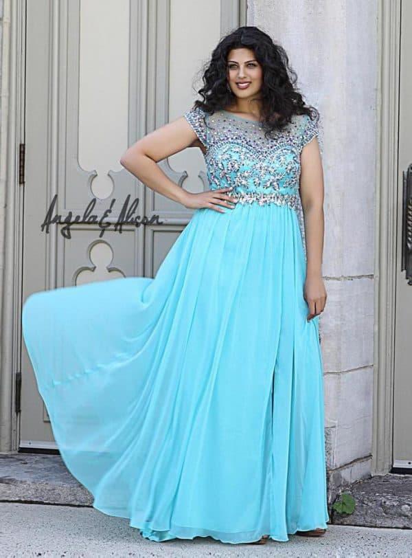 Голубое вечернее платье для полных женщин