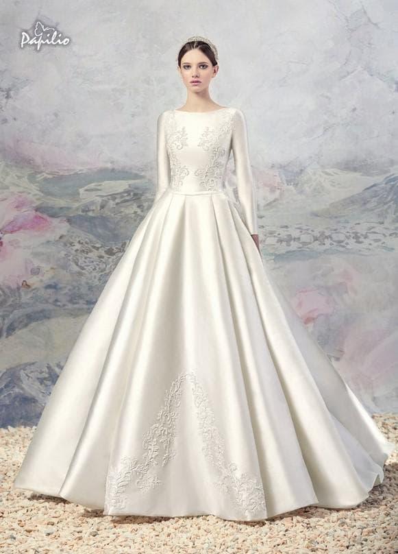 Атласное свадебное платье в пол