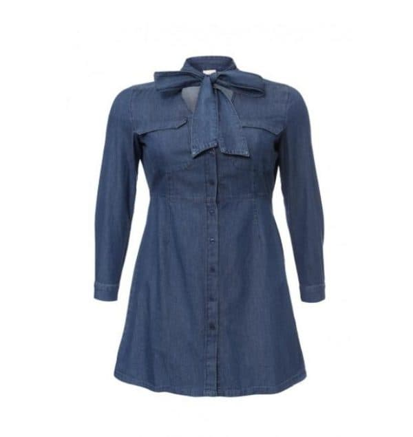 Платье мини из джинсовой ткани для полных женщин