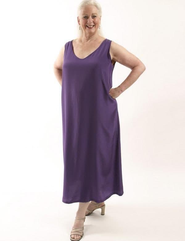 Фиолетовое платье в пол на каждый день plus size
