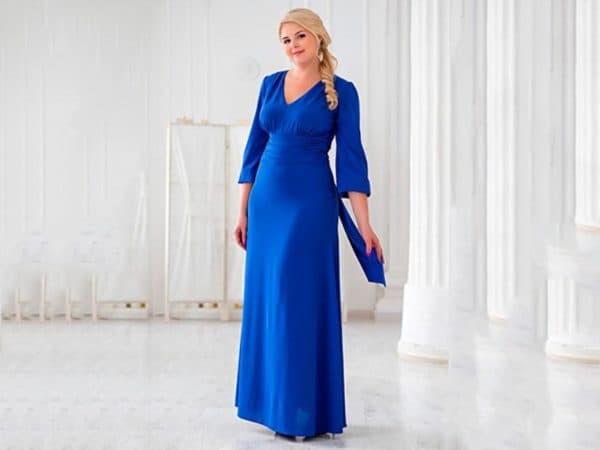 Синее шифоновое платье большого размера