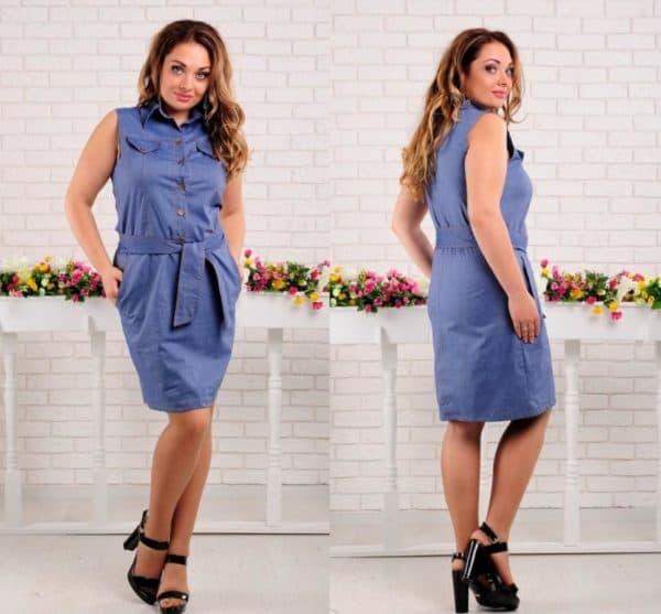 Джинсовоне платье футляр для полных женщин