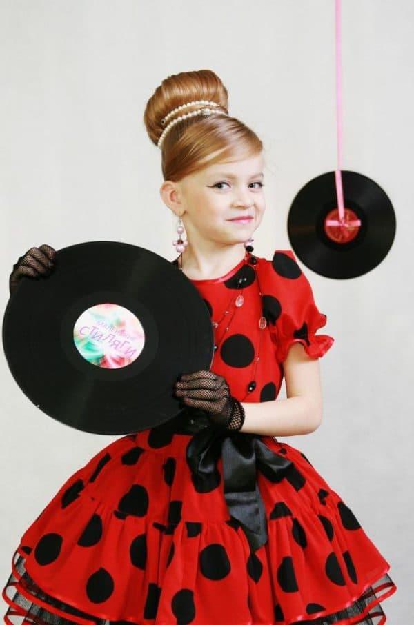 Красное платье в стиле стиляг для девочек