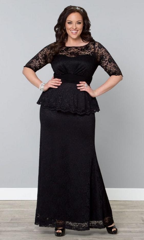 Платье с верхом из гипюра большого размера