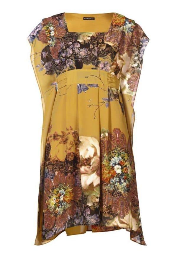Короткое шифоновое платье большого размера