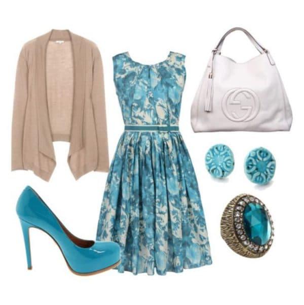 Офисное платье голубого цвета с чем носить