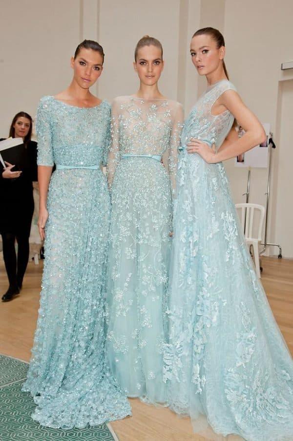 Вечерние голубые платья в пол