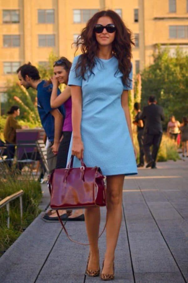 Голубое платье мини на каждый день
