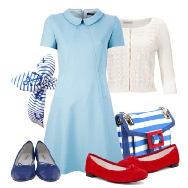 С чем носить короткое голубое платье