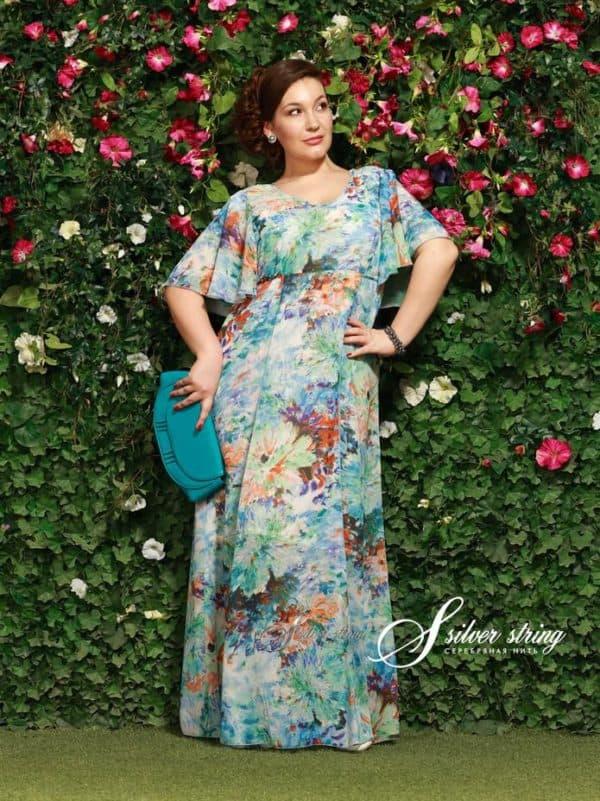 Летнее шифоновое платье для полной женщины