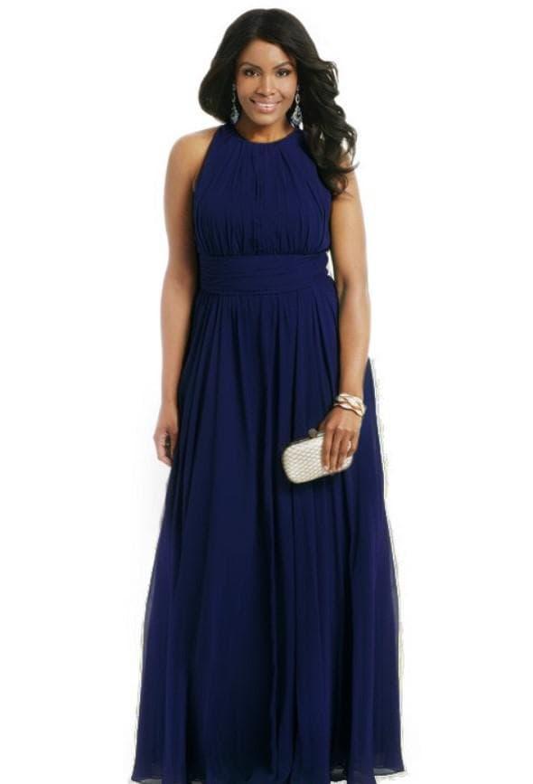 Темно-синее вечернее платье для полных женщин
