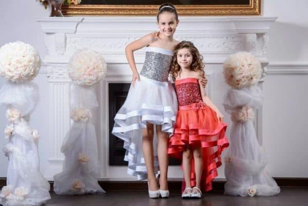Праздничные платья для девочек с асимметричной юбкой