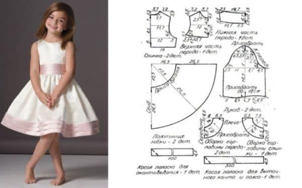 Выкройка праздничного детского платья с юбкой-солнце