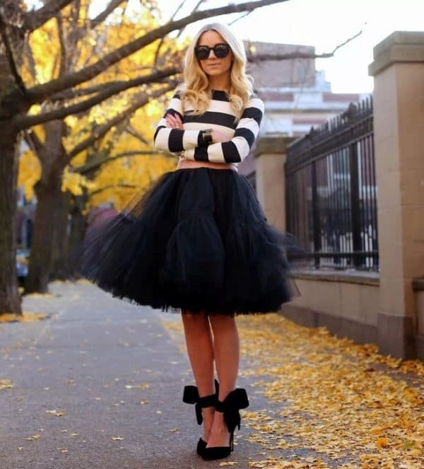 С чем носить чёрную юбку пачку