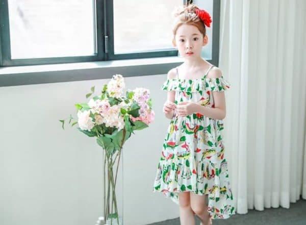 Детское летнее платье с асимметричным подолом